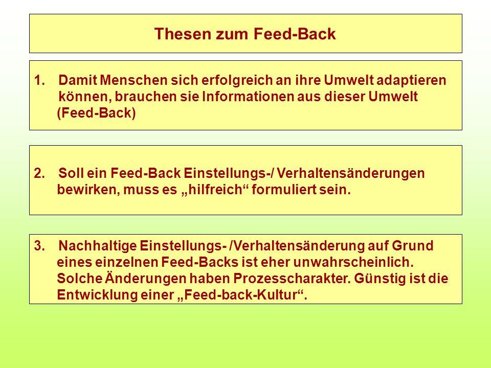 Thesen zum Feed-Back 1.Damit Menschen sich erfolgreich an ihre Umwelt adaptieren können, brauchen sie Informationen aus dieser Umwelt (Feed-Back) 2.So