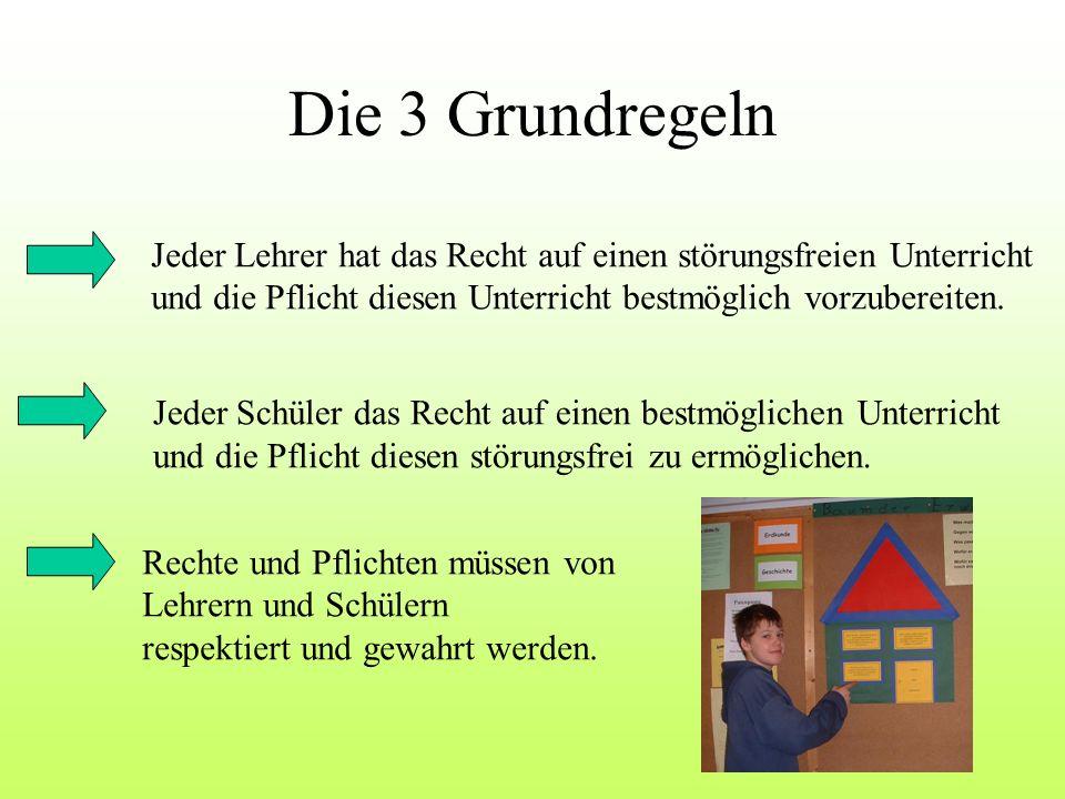 Die 3 Grundregeln Jeder Lehrer hat das Recht auf einen störungsfreien Unterricht und die Pflicht diesen Unterricht bestmöglich vorzubereiten. Jeder Sc