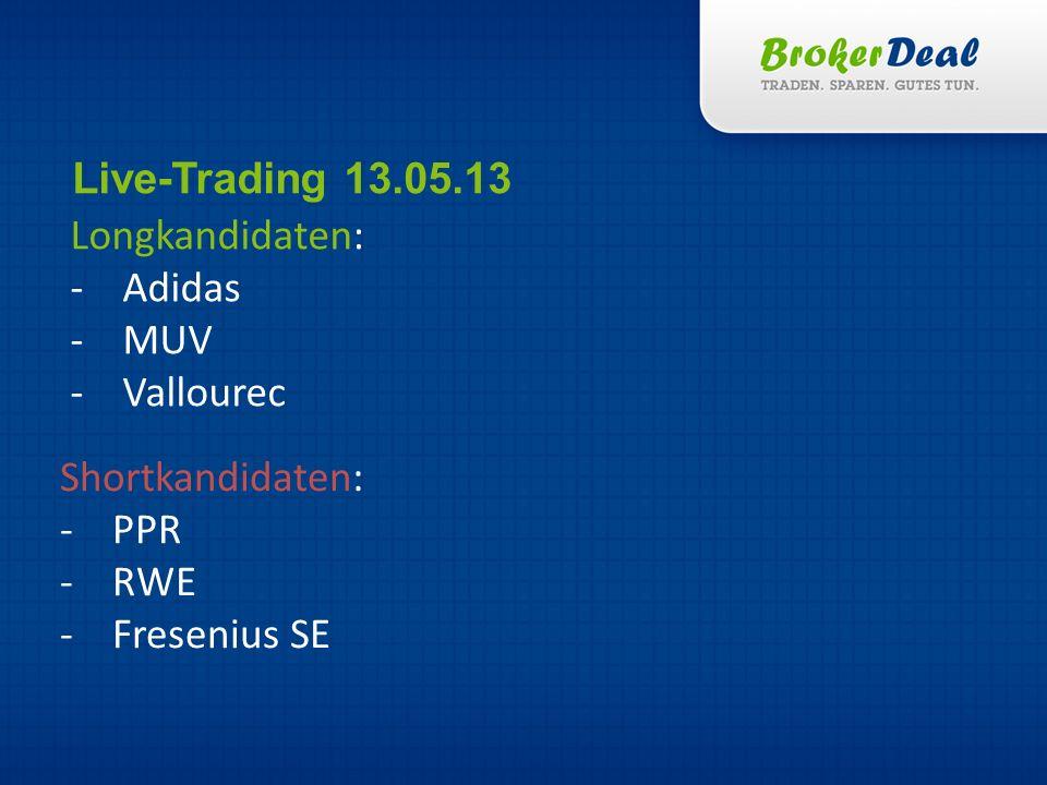 Longkandidaten: -Adidas -MUV -Vallourec Live-Trading 13.05.13 Shortkandidaten: -PPR -RWE -Fresenius SE