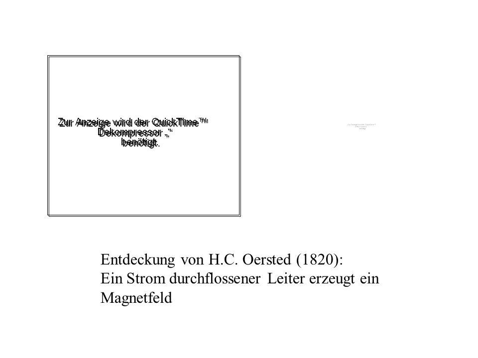 Entdeckung von H.C. Oersted (1820): Ein Strom durchflossener Leiter erzeugt ein Magnetfeld