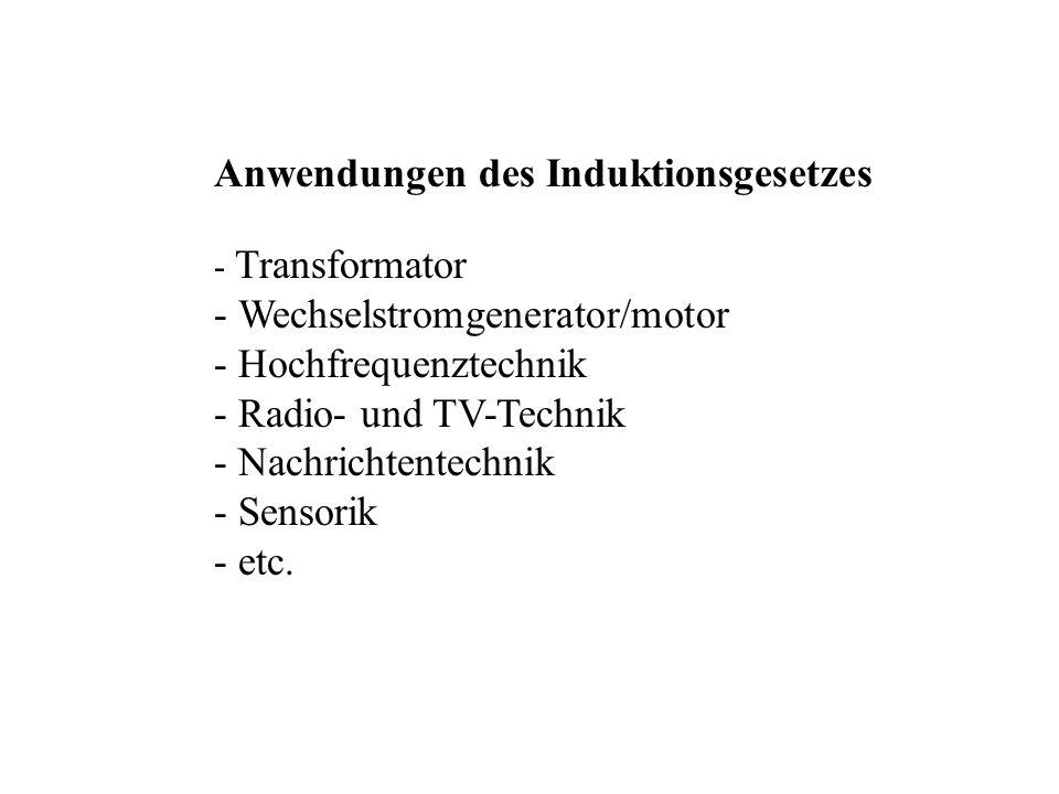 Anwendungen des Induktionsgesetzes - - Transformator - - Wechselstromgenerator/motor - - Hochfrequenztechnik - - Radio- und TV-Technik - - Nachrichten