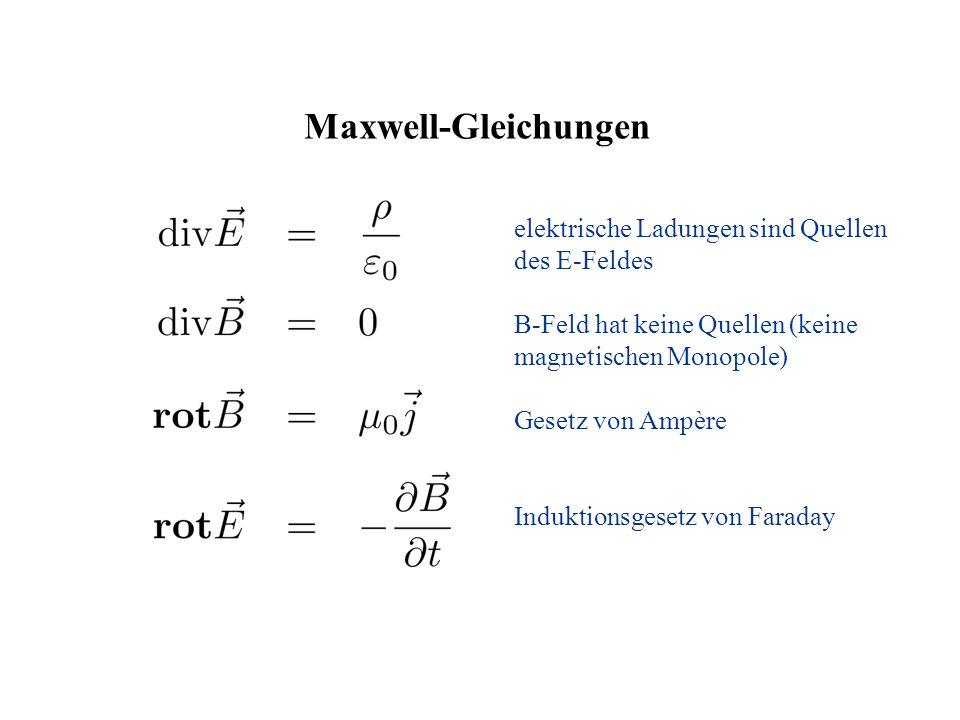 elektrische Ladungen sind Quellen des E-Feldes B-Feld hat keine Quellen (keine magnetischen Monopole) Gesetz von Ampère Induktionsgesetz von Faraday M
