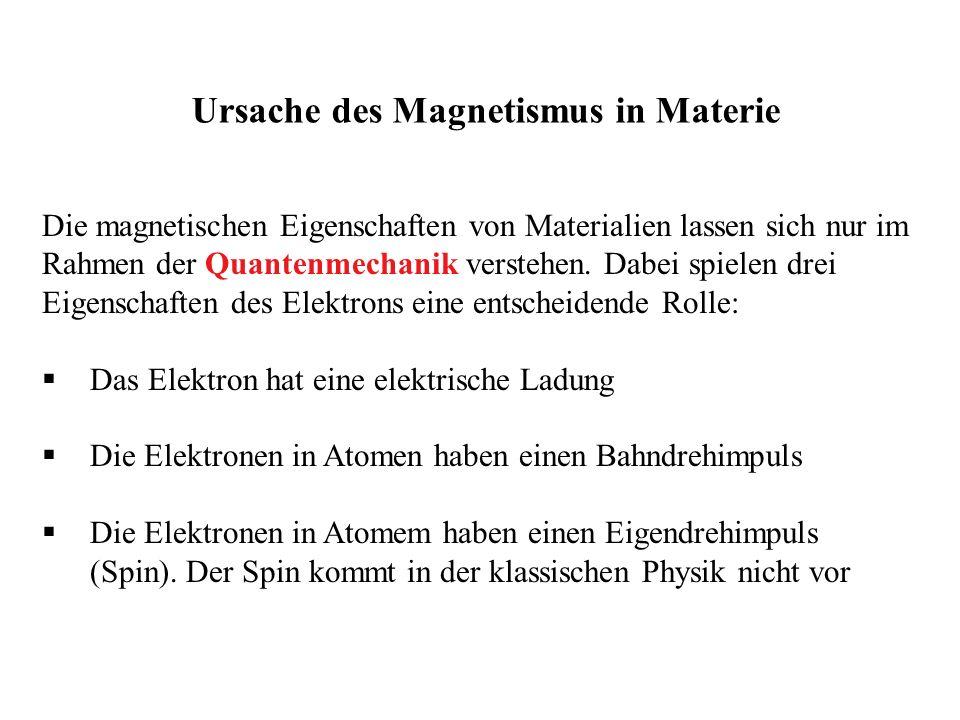 Die magnetischen Eigenschaften von Materialien lassen sich nur im Rahmen der Quantenmechanik verstehen. Dabei spielen drei Eigenschaften des Elektrons
