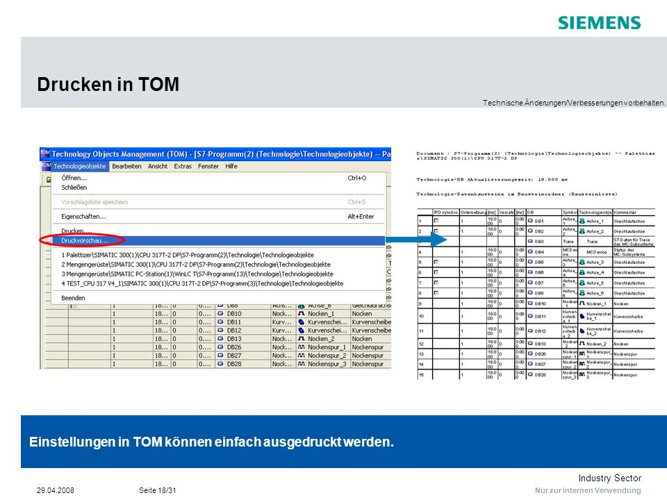 Nur zur internen Verwendung Industry Sector 29.04.2008Seite 18/31 Drucken in TOM Einstellungen in TOM können einfach ausgedruckt werden. Technische Än