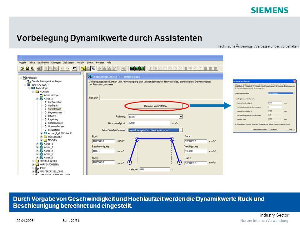 Nur zur internen Verwendung Industry Sector 29.04.2008Seite 22/31 Vorbelegung Dynamikwerte durch Assistenten Durch Vorgabe von Geschwindigkeit und Hoc