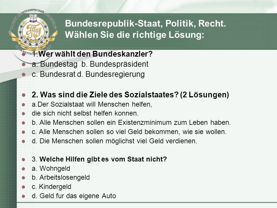 Bundesrepublik-Staat, Politik, Recht.