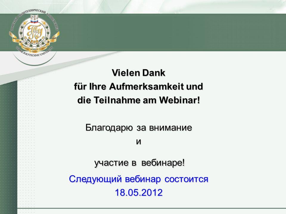 Vielen Dank für Ihre Aufmerksamkeit und die Teilnahme am Webinar.