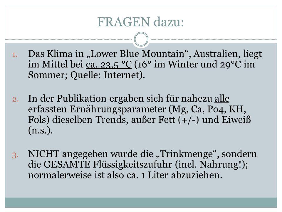 FRAGEN dazu: 1. Das Klima in Lower Blue Mountain, Australien, liegt im Mittel bei ca.