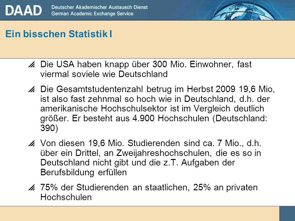 Ein bisschen Statistik I Die USA haben knapp über 300 Mio. Einwohner, fast viermal soviele wie Deutschland Die Gesamtstudentenzahl betrug im Herbst 20