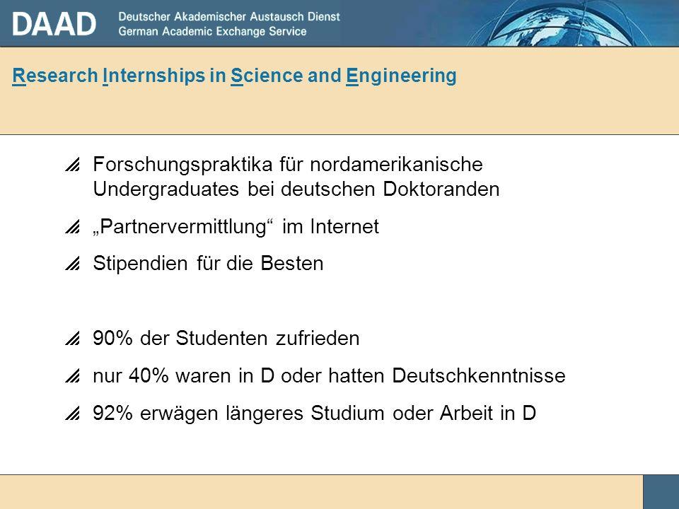 Research Internships in Science and Engineering Forschungspraktika für nordamerikanische Undergraduates bei deutschen Doktoranden Partnervermittlung i