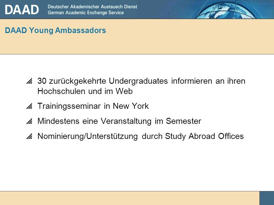 DAAD Young Ambassadors 30 zurückgekehrte Undergraduates informieren an ihren Hochschulen und im Web Trainingsseminar in New York Mindestens eine Veran