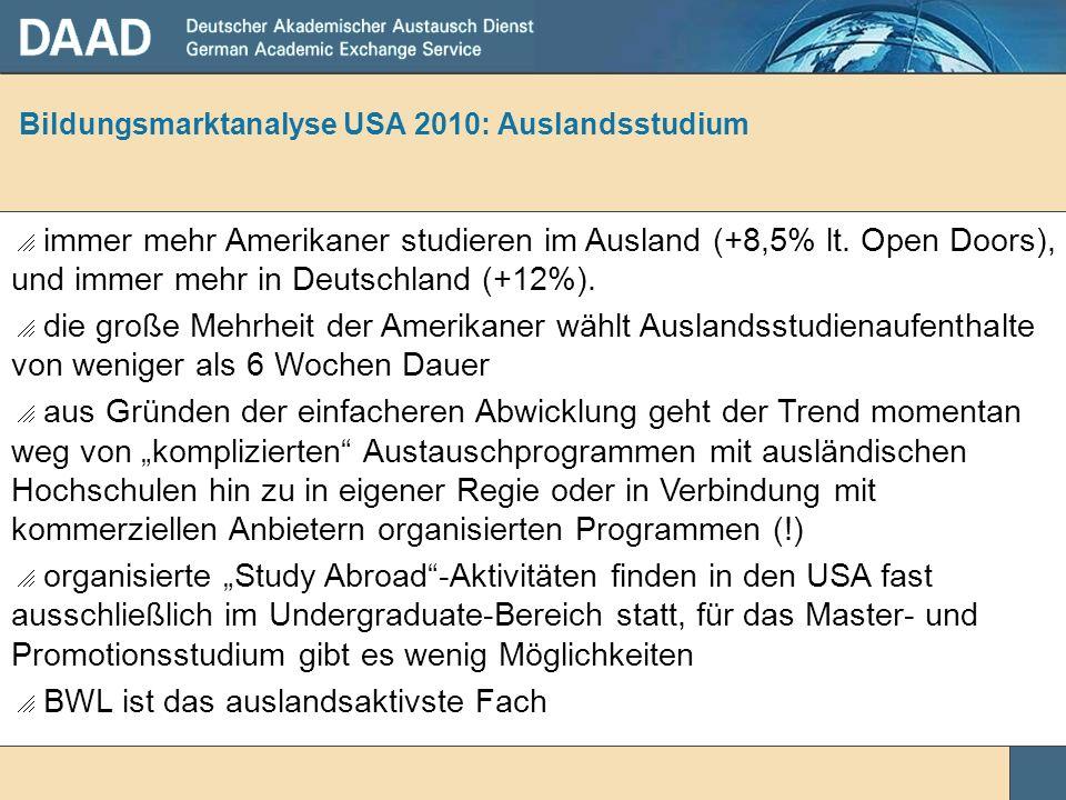 Bildungsmarktanalyse USA 2010: Auslandsstudium immer mehr Amerikaner studieren im Ausland (+8,5% lt. Open Doors), und immer mehr in Deutschland (+12%)