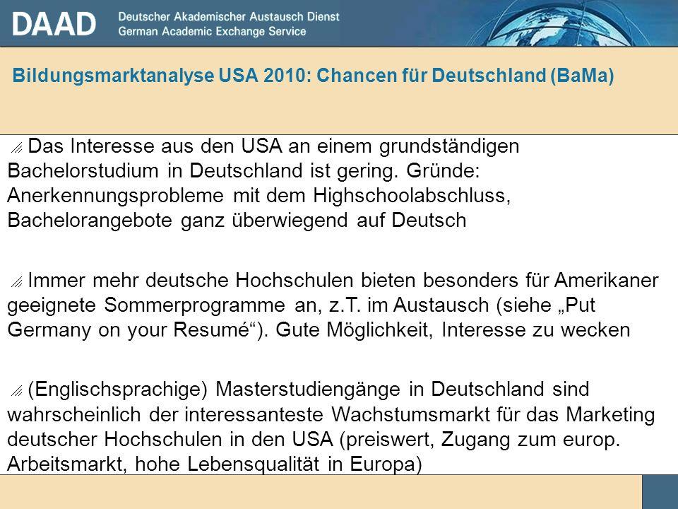 Bildungsmarktanalyse USA 2010: Chancen für Deutschland (BaMa) Das Interesse aus den USA an einem grundständigen Bachelorstudium in Deutschland ist ger