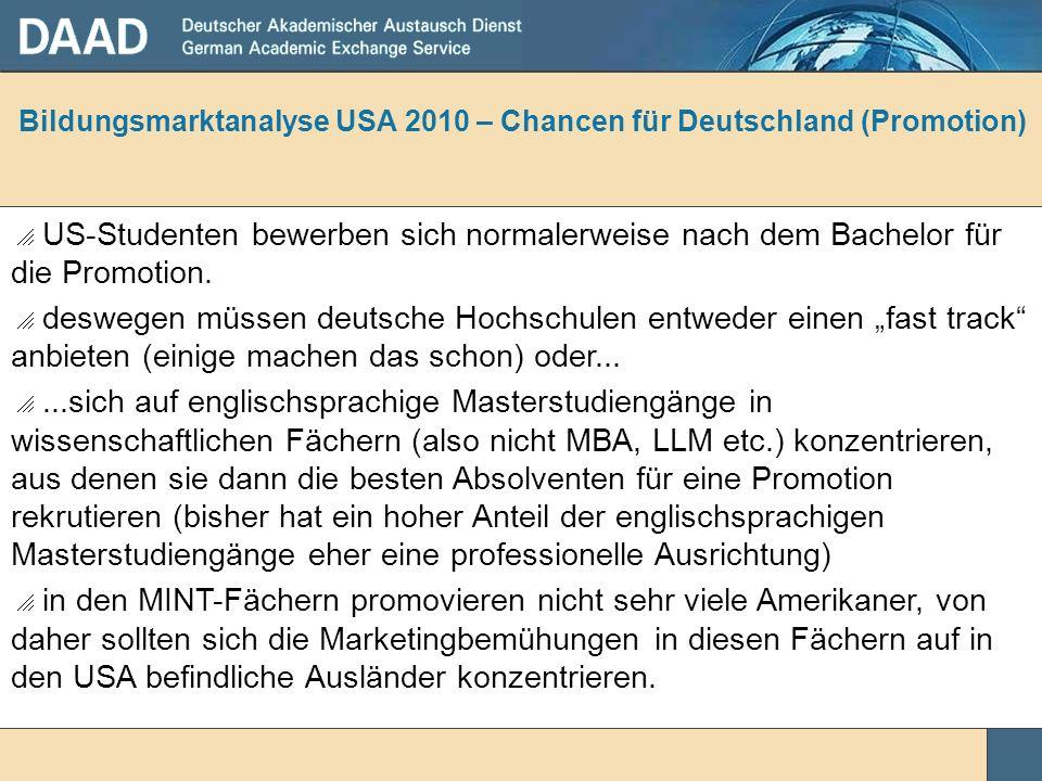 Bildungsmarktanalyse USA 2010 – Chancen für Deutschland (Promotion) US-Studenten bewerben sich normalerweise nach dem Bachelor für die Promotion. desw