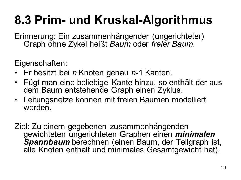 21 8.3 Prim- und Kruskal-Algorithmus Erinnerung: Ein zusammenhängender (ungerichteter) Graph ohne Zykel heißt Baum oder freier Baum. Eigenschaften: Er