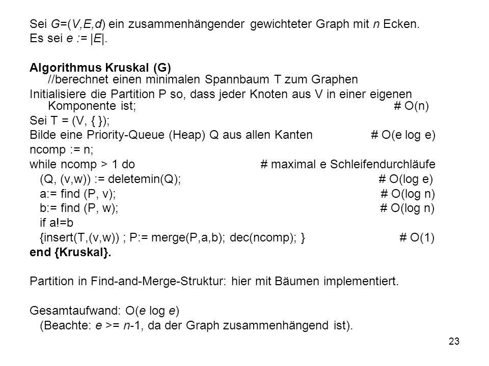 23 Sei G=(V,E,d) ein zusammenhängender gewichteter Graph mit n Ecken. Es sei e := |E|. Algorithmus Kruskal (G) //berechnet einen minimalen Spannbaum T