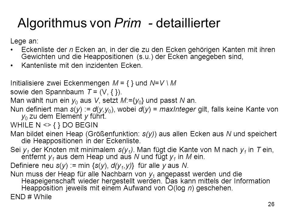 26 Algorithmus von Prim - detaillierter Lege an: Eckenliste der n Ecken an, in der die zu den Ecken gehörigen Kanten mit ihren Gewichten und die Heapp