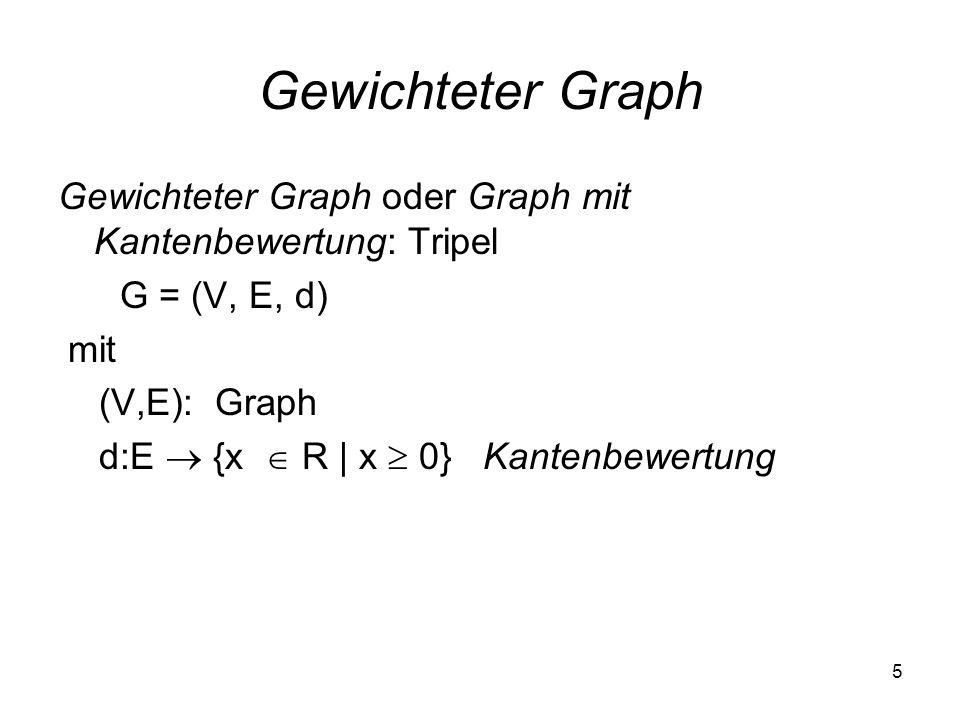 5 Gewichteter Graph Gewichteter Graph oder Graph mit Kantenbewertung: Tripel G = (V, E, d) mit (V,E): Graph d:E {x R | x 0} Kantenbewertung