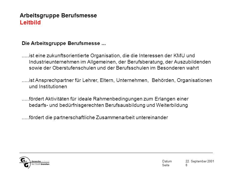Datum22. September 2001 Seite9 Arbeitsgruppe Berufsmesse Aufbauorganisation
