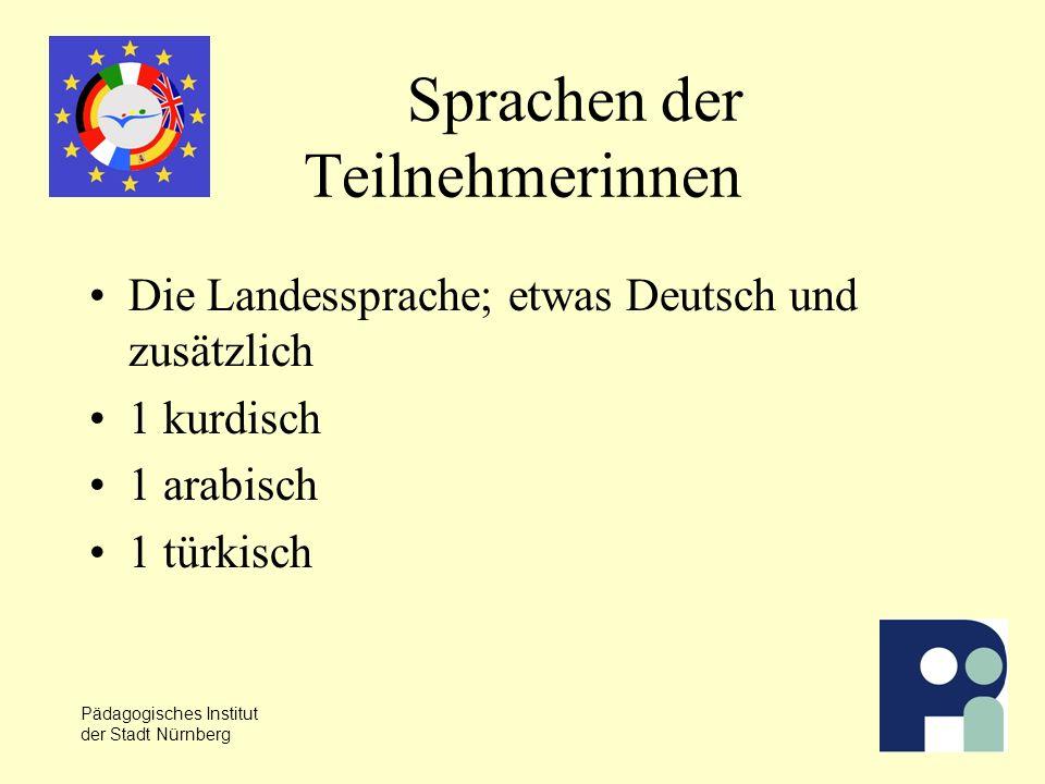 Pädagogisches Institut der Stadt Nürnberg Sprachen der Teilnehmerinnen Die Landessprache; etwas Deutsch und zusätzlich 1 kurdisch 1 arabisch 1 türkisch