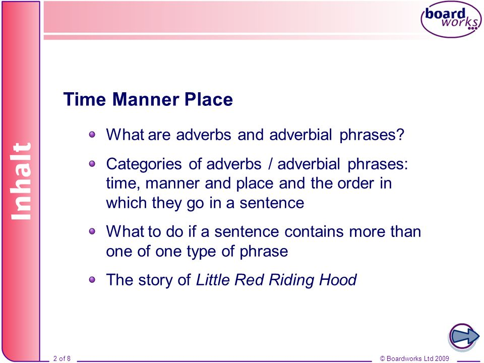 © Boardworks Ltd 20092 of 8 Inhalt © Boardworks Ltd 20092 of 8 Time Manner Place What are adverbs and adverbial phrases.