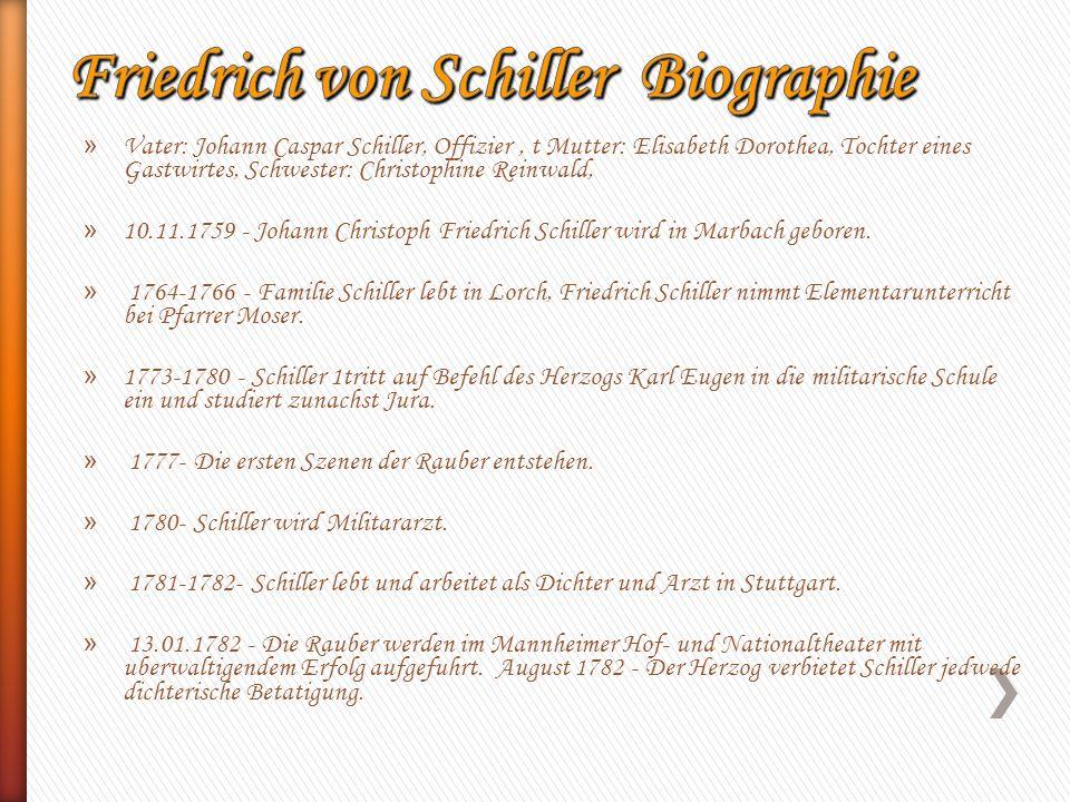 » Vater: Johann Caspar Schiller, Offizier, t Mutter: Elisabeth Dorothea, Tochter eines Gastwirtes, Schwester: Christophine Reinwald, » 10.11.1759 - Jo