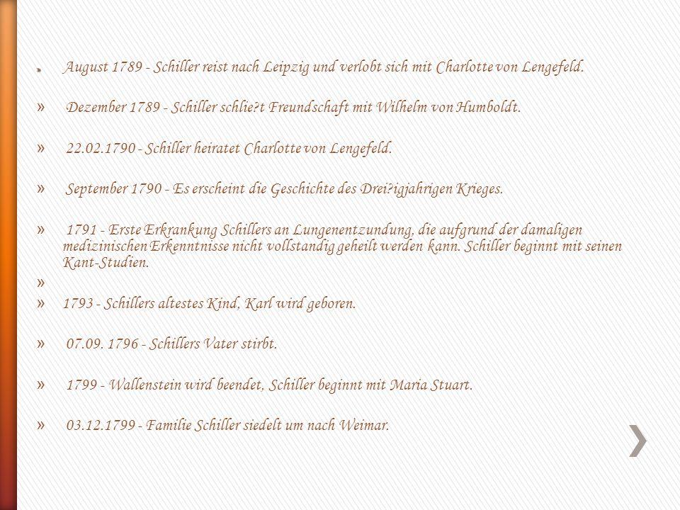 » » August 1789 - Schiller reist nach Leipzig und verlobt sich mit Charlotte von Lengefeld. » Dezember 1789 - Schiller schlie?t Freundschaft mit Wilhe