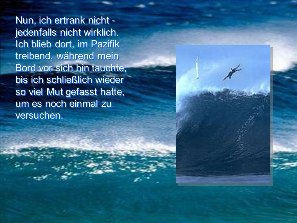 – ich sah zurück.... – ich sah zurück.... Die nächste Welle hob das Surfbrett an. Vor mir schien sich eine große Kluft im Meer aufzutun. Das Surfbrett