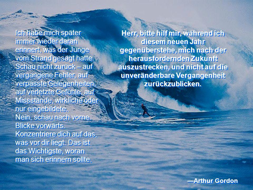 Ich habe mich später immer wieder daran erinnert, was der Junge vom Strand gesagt hatte.