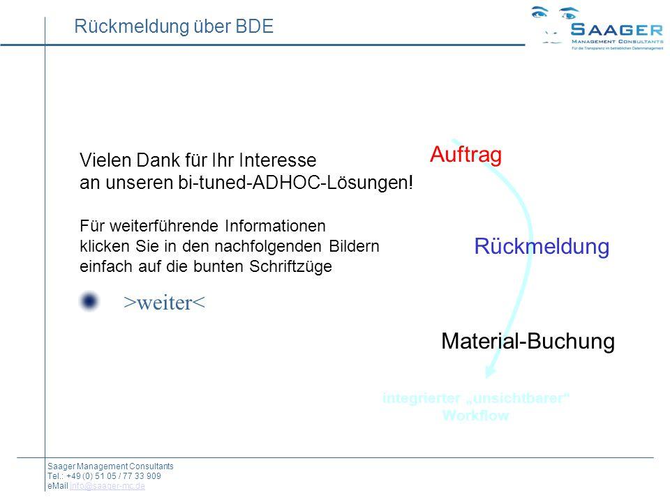 Rückmeldung über BDE Auftrag Rückmeldung Material-Buchung integrierter unsichtbarer Workflow Saager Management Consultants Tel.: +49 (0) 51 05 / 77 33 909 eMail info@saager-mc.deinfo@saager-mc.de Vielen Dank für Ihr Interesse an unseren bi-tuned-ADHOC-Lösungen.
