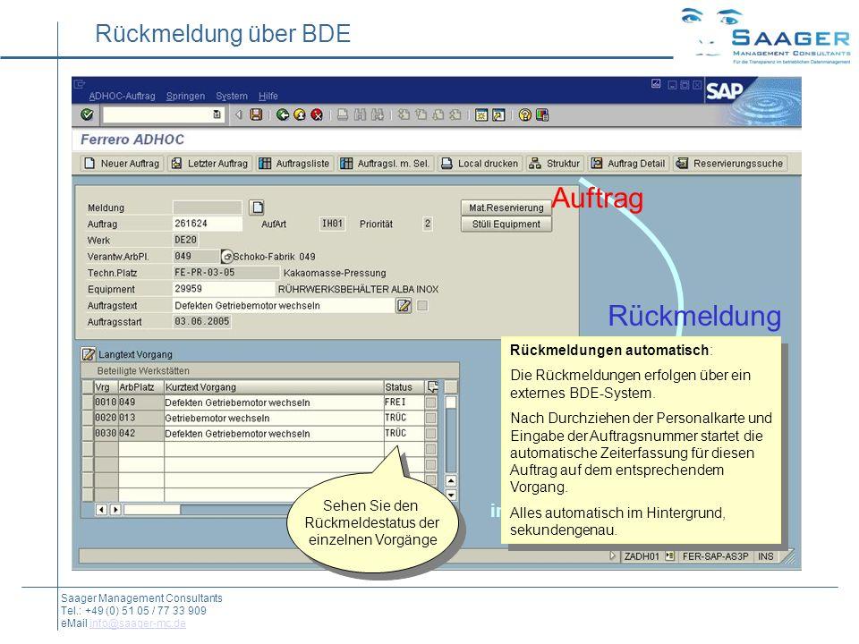 Rückmeldung über BDE Auftrag Rückmeldung Material-Buchung integrierter unsichtbarer Workflow Saager Management Consultants Tel.: +49 (0) 51 05 / 77 33 909 eMail info@saager-mc.deinfo@saager-mc.de Rückmeldungen automatisch: Die Rückmeldungen erfolgen über ein externes BDE-System.