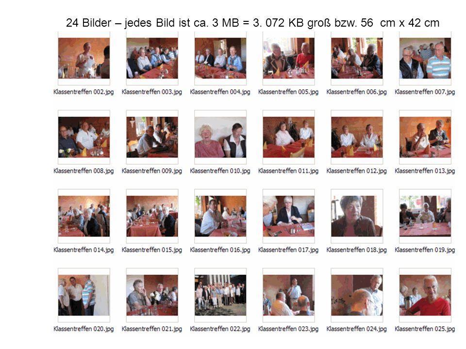 24 Bilder – jedes Bild ist ca. 3 MB = 3. 072 KB groß bzw. 56 cm x 42 cm