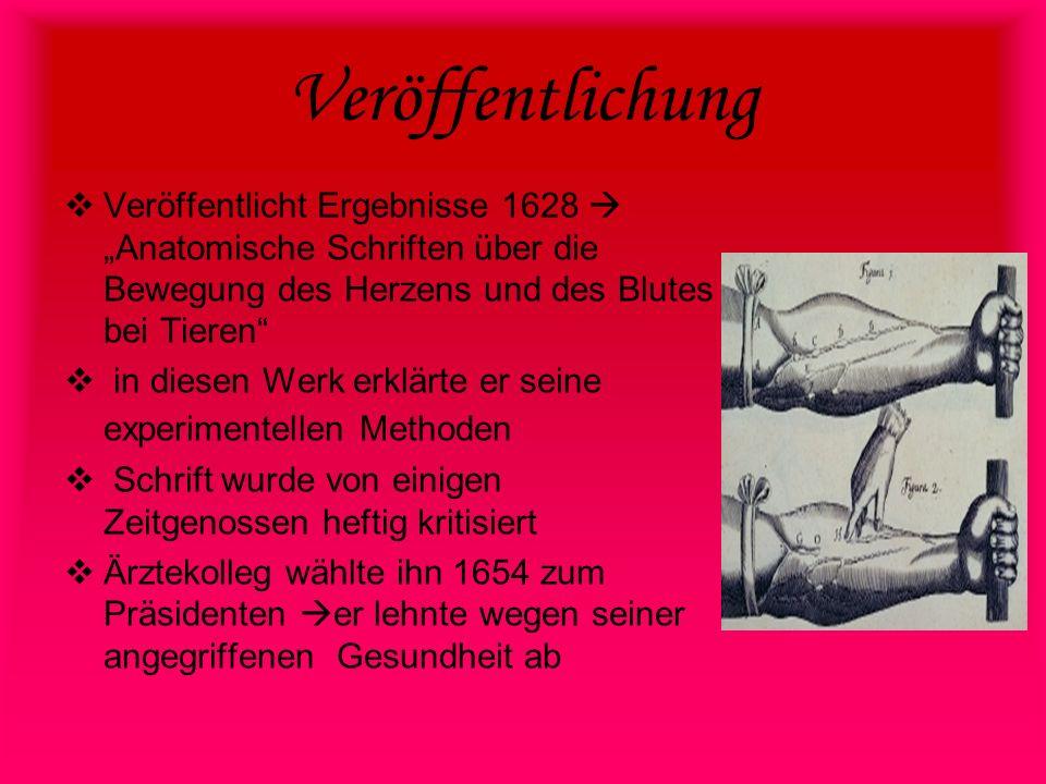 Veröffentlichung Veröffentlicht Ergebnisse 1628Anatomische Schriften über die Bewegung des Herzens und des Blutes bei Tieren in diesen Werk erklärte e