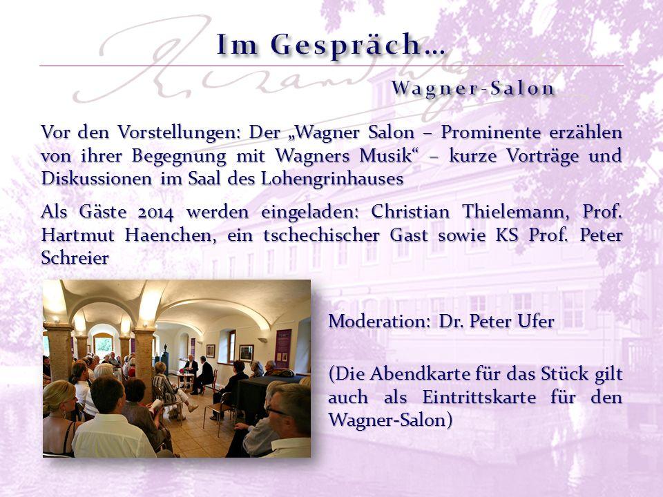 Vor den Vorstellungen: Der Wagner Salon – Prominente erzählen von ihrer Begegnung mit Wagners Musik – kurze Vorträge und Diskussionen im Saal des Lohe