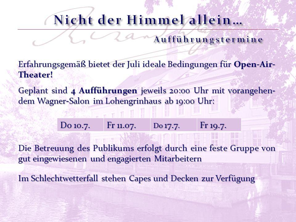 Erfahrungsgemäß bietet der Juli ideale Bedingungen für Open-Air- Theater! Do 10.7. Fr 11.07. Do 17.7. Fr 19.7. Die Betreuung des Publikums erfolgt dur