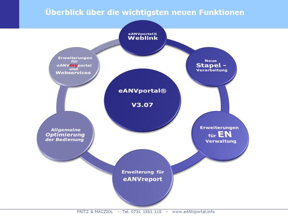 FRITZ & MACZIOL - Tel. 0731 1551 115 - www.eANVportal.info Überblick über die wichtigsten neuen Funktionen