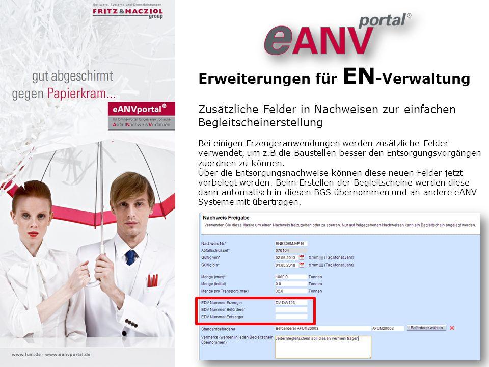Erweiterung für eANVreport Überwachung von Übernahmescheinmengen Das AddOn eANVreport wurde um eine Mengen-Auswertung für Sammler ergänzt.