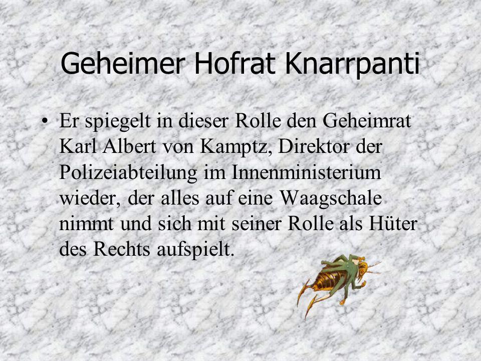 Geheimer Hofrat Knarrpanti Er spiegelt in dieser Rolle den Geheimrat Karl Albert von Kamptz, Direktor der Polizeiabteilung im Innenministerium wieder, der alles auf eine Waagschale nimmt und sich mit seiner Rolle als Hüter des Rechts aufspielt.