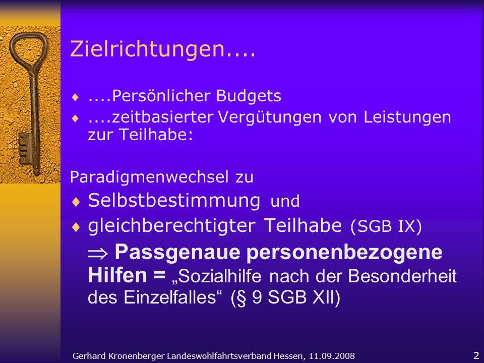 Gerhard Kronenberger Landeswohlfahrtsverband Hessen, 11.09.2008 2 Zielrichtungen........Persönlicher Budgets....zeitbasierter Vergütungen von Leistung