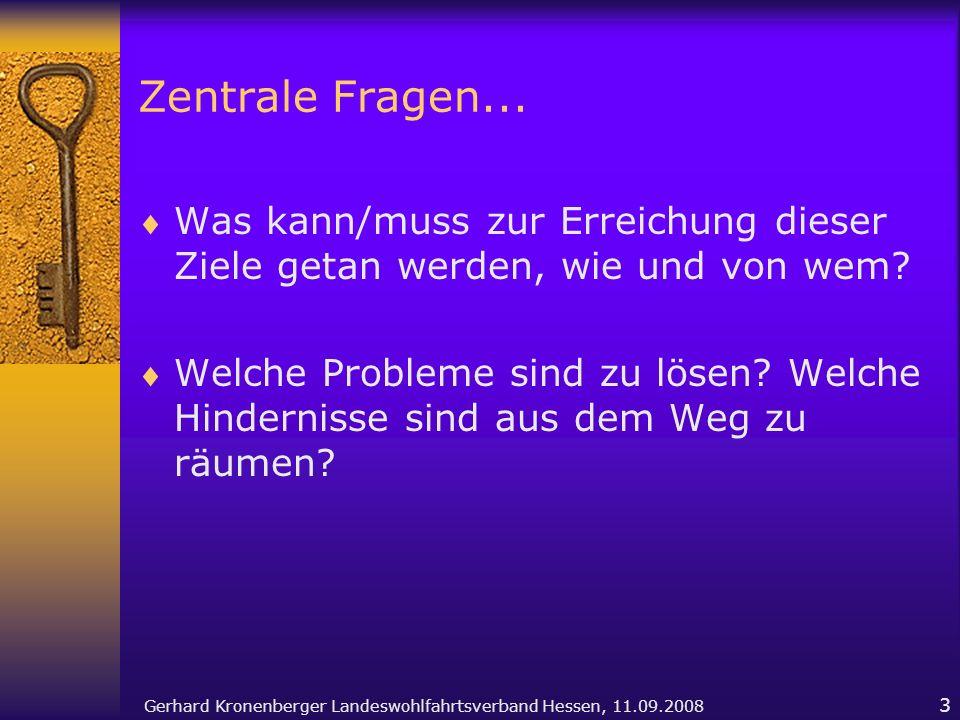 Gerhard Kronenberger Landeswohlfahrtsverband Hessen, 11.09.2008 3 Zentrale Fragen... Was kann/muss zur Erreichung dieser Ziele getan werden, wie und v