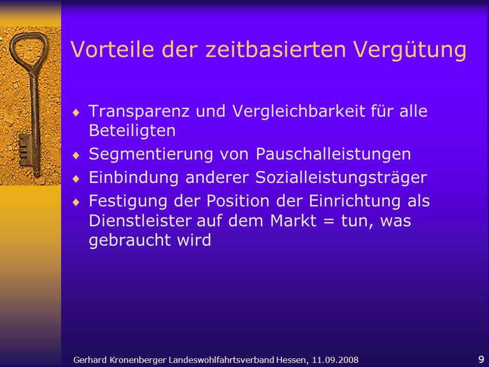 Gerhard Kronenberger Landeswohlfahrtsverband Hessen, 11.09.2008 9 Vorteile der zeitbasierten Vergütung Transparenz und Vergleichbarkeit für alle Betei