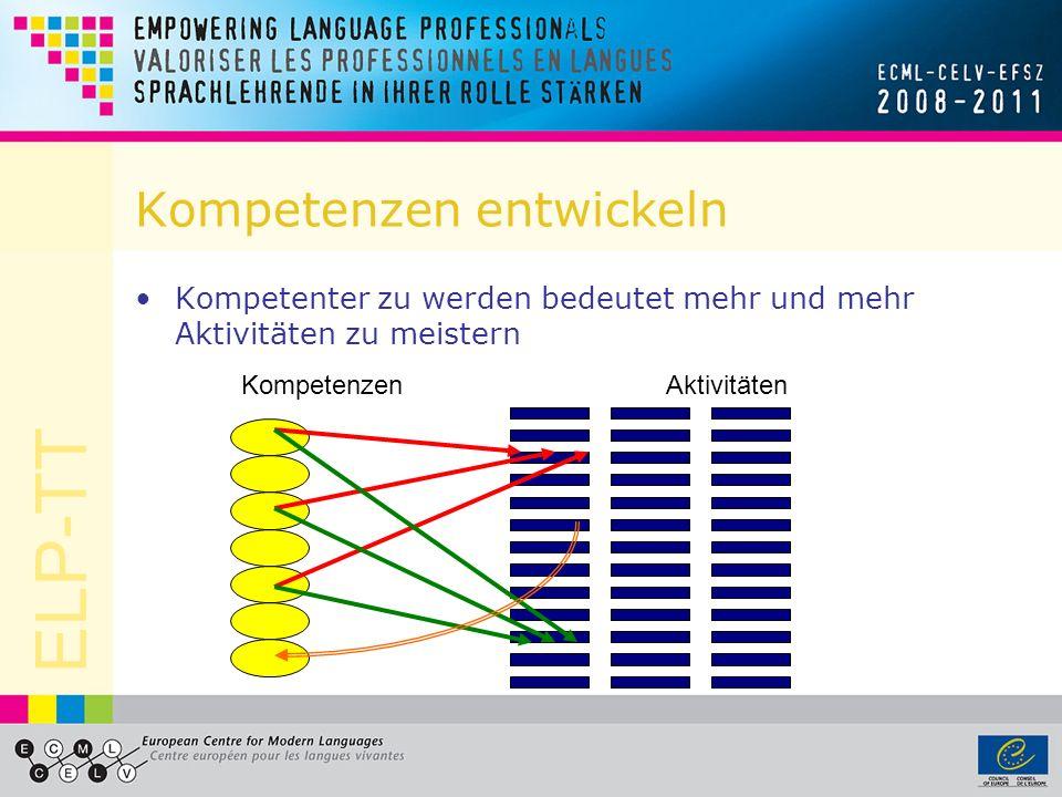 ELP-TT Kompetenzen entwickeln Kompetenter zu werden bedeutet mehr und mehr Aktivitäten zu meistern KompetenzenAktivitäten