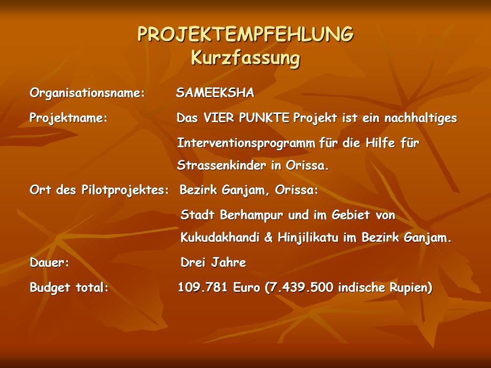 PROJEKTEMPFEHLUNG Kurzfassung Organisationsname: SAMEEKSHA Projektname: Das VIER PUNKTE Projekt ist ein nachhaltiges Interventionsprogramm für die Hil