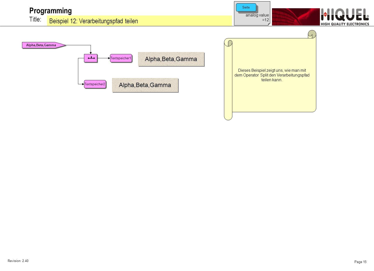 Revision: 2.40 Page 15 Title: Programming Beispiel 12: Verarbeitungspfad teilen Dieses Beispiel zeigt uns, wie man mit dem Operator Split den Verarbeitungspfad teilen kann.