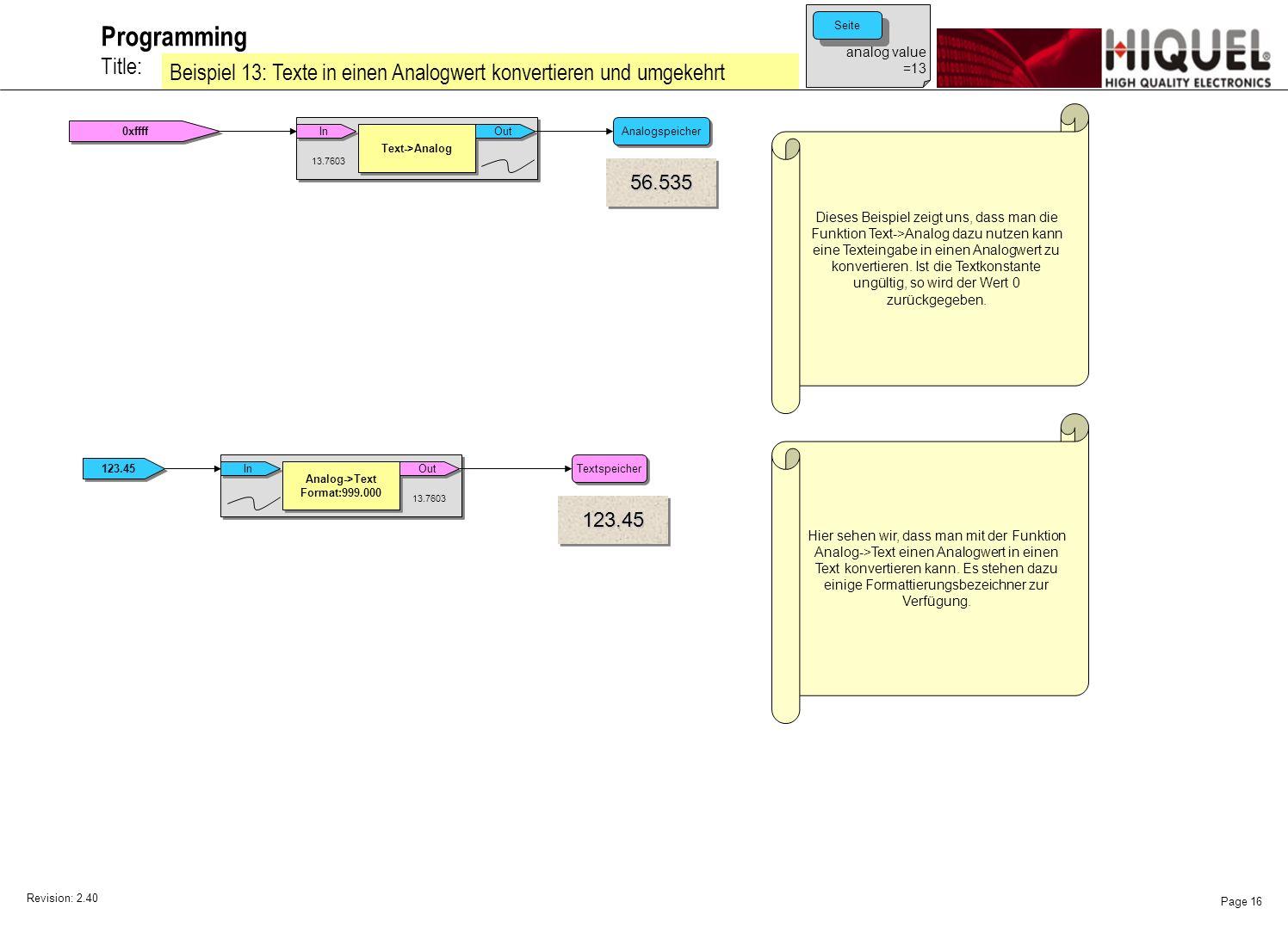 Revision: 2.40 Page 16 Title: Programming Beispiel 13: Texte in einen Analogwert konvertieren und umgekehrt Dieses Beispiel zeigt uns, dass man die Funktion Text->Analog dazu nutzen kann eine Texteingabe in einen Analogwert zu konvertieren.