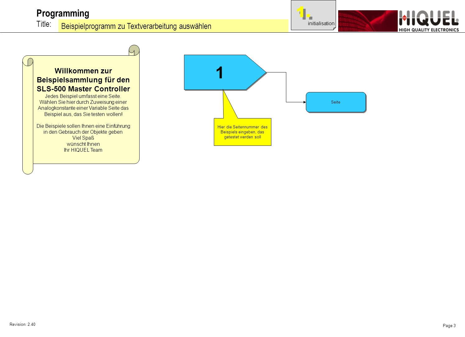 Revision: 2.40 Page 3 Title: Programming Beispielprogramm zu Textverarbeitung auswählen Willkommen zur Beispielsammlung für den SLS-500 Master Controller Jedes Beispiel umfasst eine Seite.