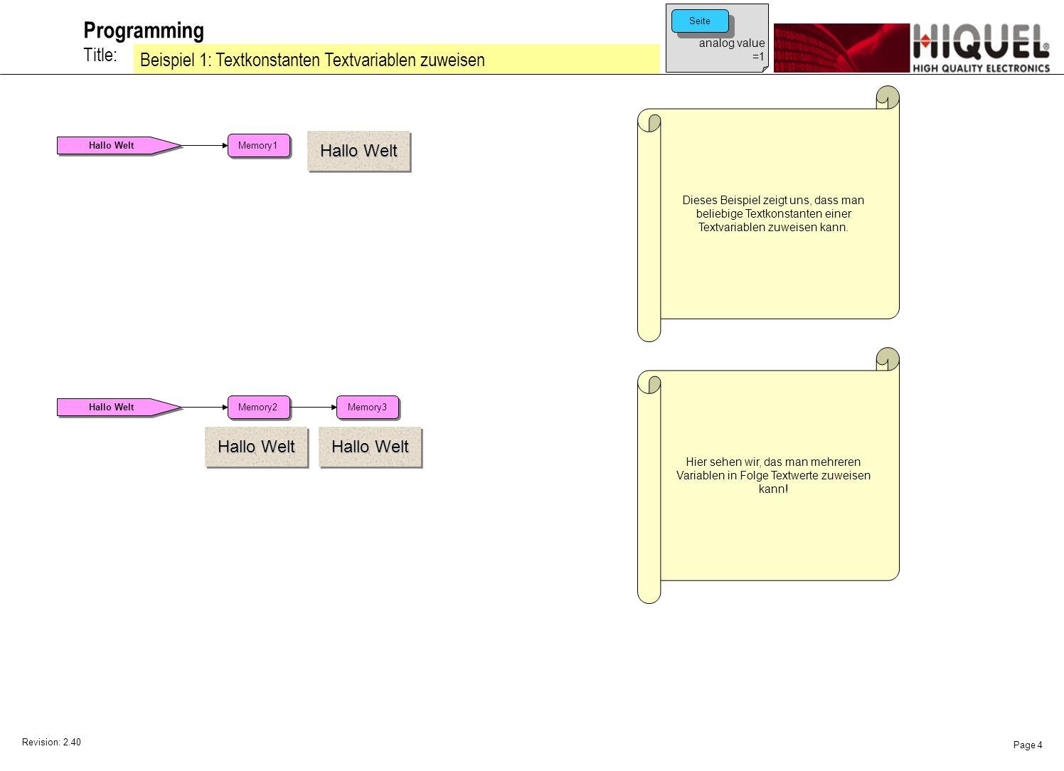 Revision: 2.40 Page 4 Title: Programming Beispiel 1: Textkonstanten Textvariablen zuweisen Dieses Beispiel zeigt uns, dass man beliebige Textkonstanten einer Textvariablen zuweisen kann.