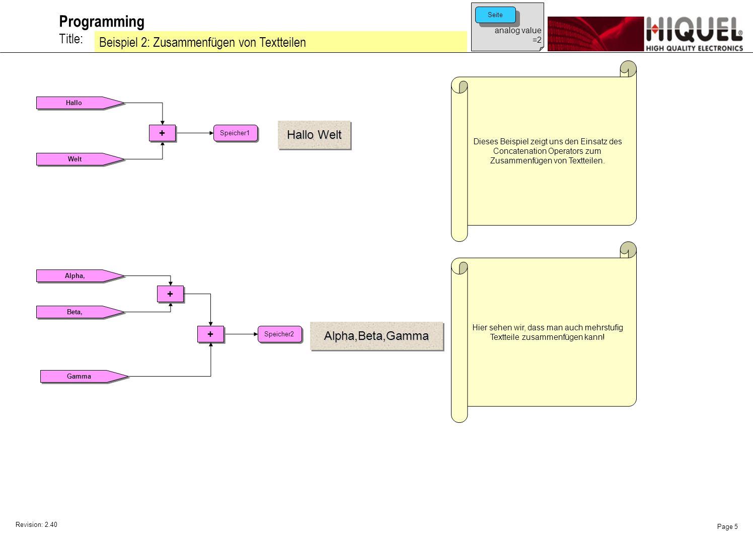 Revision: 2.40 Page 5 Title: Programming Beispiel 2: Zusammenfügen von Textteilen Hallo Welt + + Speicher1 Dieses Beispiel zeigt uns den Einsatz des Concatenation Operators zum Zusammenfügen von Textteilen.
