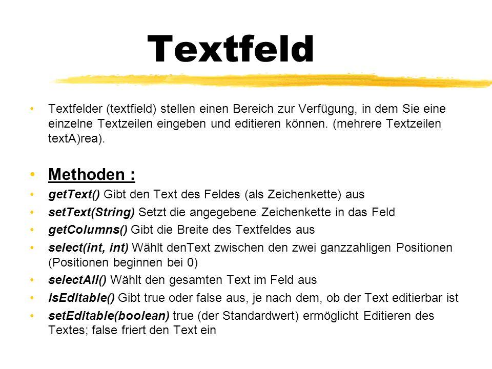 Textfeld Textfelder (textfield) stellen einen Bereich zur Verfügung, in dem Sie eine einzelne Textzeilen eingeben und editieren können.