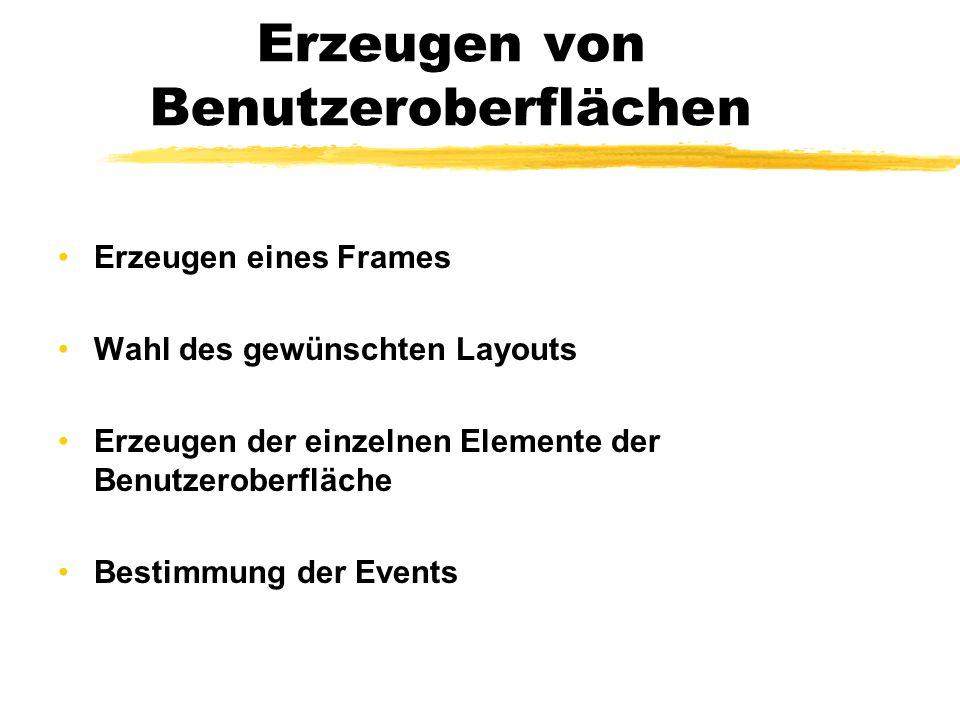 Erzeugen von Benutzeroberflächen Erzeugen eines Frames Wahl des gewünschten Layouts Erzeugen der einzelnen Elemente der Benutzeroberfläche Bestimmung der Events